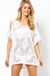 White-Cut-Out-Cold-Shoulder-Batwing-Top-Beach-Cover-Up-O-S-10-to-16