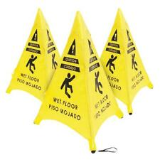 3 Pack Of Pop Up Triangle Shaped Caution Wet Floor Sign 20in For Restaurant Com