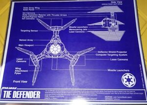 Star Wars Imperial Tie Defender Blueprint 11x14 w/Top Loader