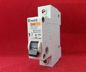 15A C45N SINGLE POLE//PHASE CIRCUIT BREAKER M6 TYPE 2 MCB MERLIN GERIN 15 AMP