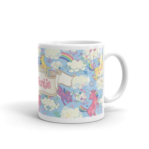 Best Auntie Aunty Pretty Unicorn Gift Pink Rainbow #8174 Mug /& Coaster Set