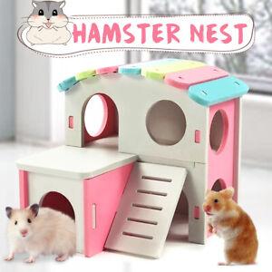 Hamster-Haus-Holz-Haustier-Bett-Nest-Kletterei-Leiter-W-Treppen-Ratte