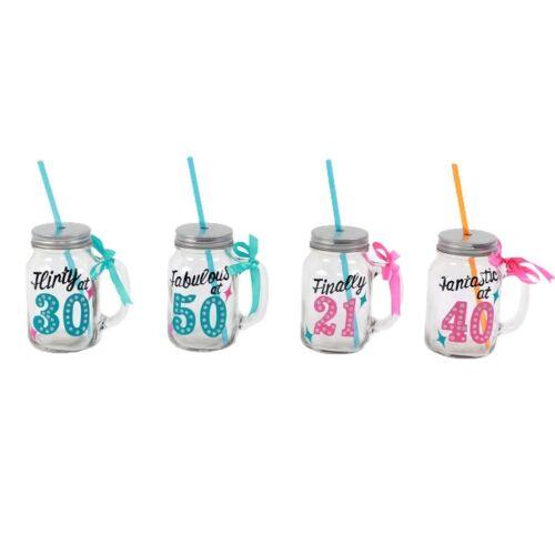 Ribbon Birthday Milestone 18oz Glass Mason Canning Jar Mug w// Metal Lid Straw
