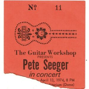 PETE-SEEGER-Concert-Ticket-Stub-BROOKVILLE-NY-4-13-74-CW-POST-COLLEGE-DOME-Rare