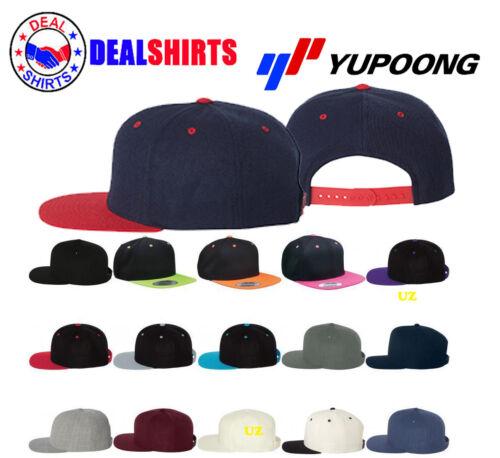 Wool Blend Flat Bill Snapback Cap Yupoong 6089M
