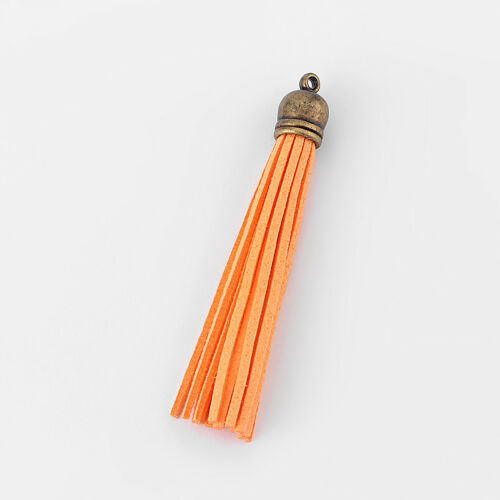 10 X Colgante de imitación de gamuza cuero borla Tapa De Bronce Para Teléfono Celular//llaveros//Bolsa