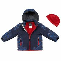 Oshkosh 2t 5 6 Blue Red Color Blocked Active Jacket Coat Fleece Hat