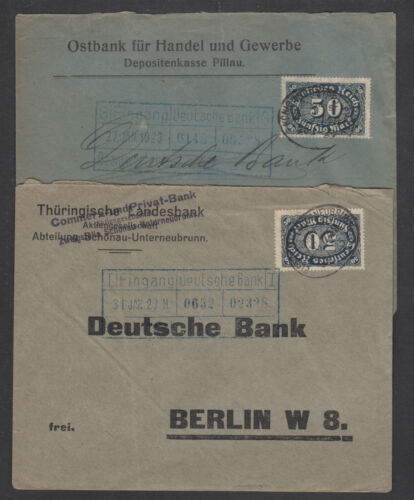 Germany Sc 198 on 2 different 1923 BAHNPOST covers, printed return addresses