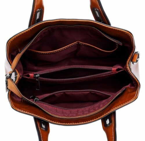 Details about  /New Women Split Cow Leather Messenger Shoulder Bag Handbag Travel Bag Brown