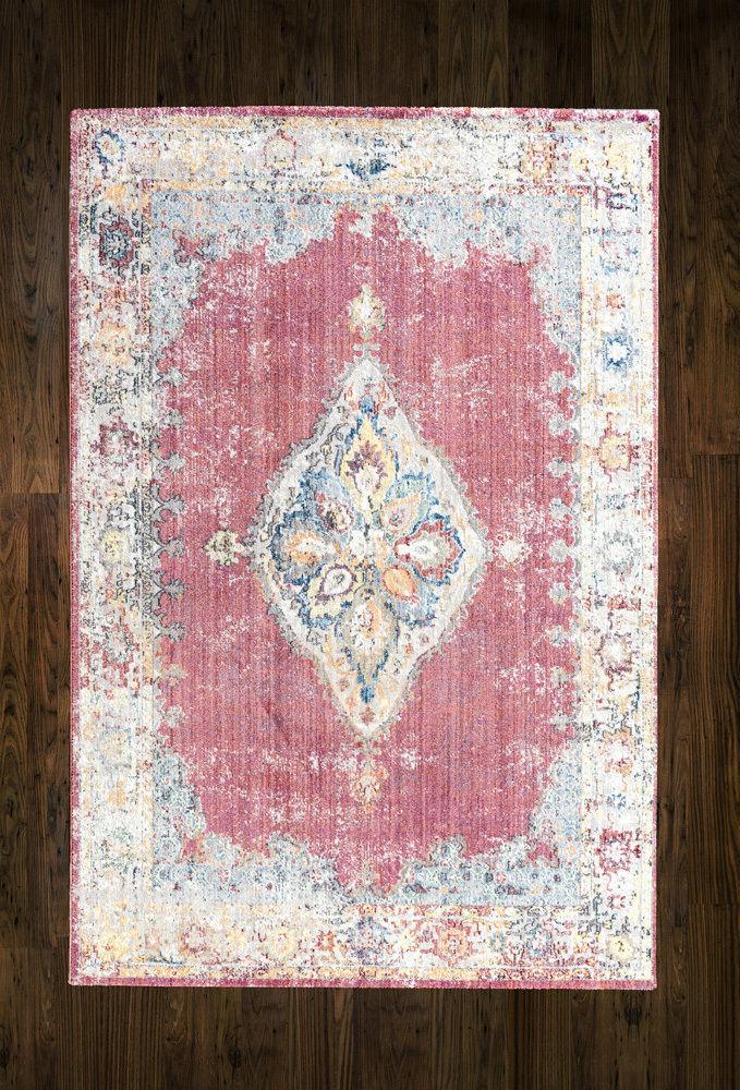 VINTAGE VINTAGE VINTAGE FADED Rosa Oriental Persian Distressed Silk Like Rug floor carpet mat 4a7b85