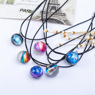Stars Galaxy Pattern Clear Glass Ball Pendant Magic Necklace Friends Faimly Gift