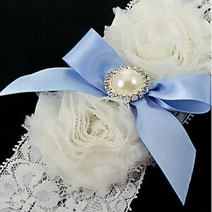 Fashion-Girl-Bridal-Wedding-Blue-Satin-Lace-White-Pearl-Bowknot-Garter