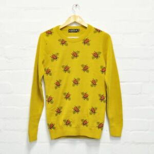 Quirky Unisex 70s Fly Run Yellow Mustard Sweater Geeky And Bee Jumper 84Aqfv
