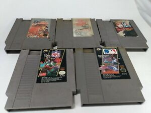 NES Nintendo Lot Of 5 Games, Double Dribble, Golgo 13, Mario, NFL, MLB Games
