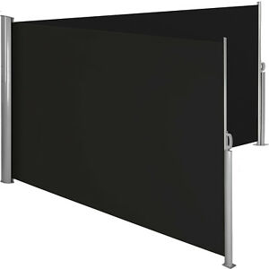 Alu-Doppel-Seitenmarkise-Sonnenschutz-Sichtschutz-Windschutz-Terrasse-UV-schwarz