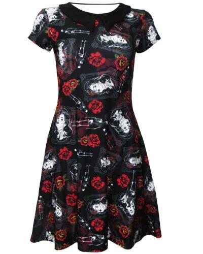Mexican Sugar Skull Skeleton Roses Tattoo Bat Collar Skater Dress Alternative
