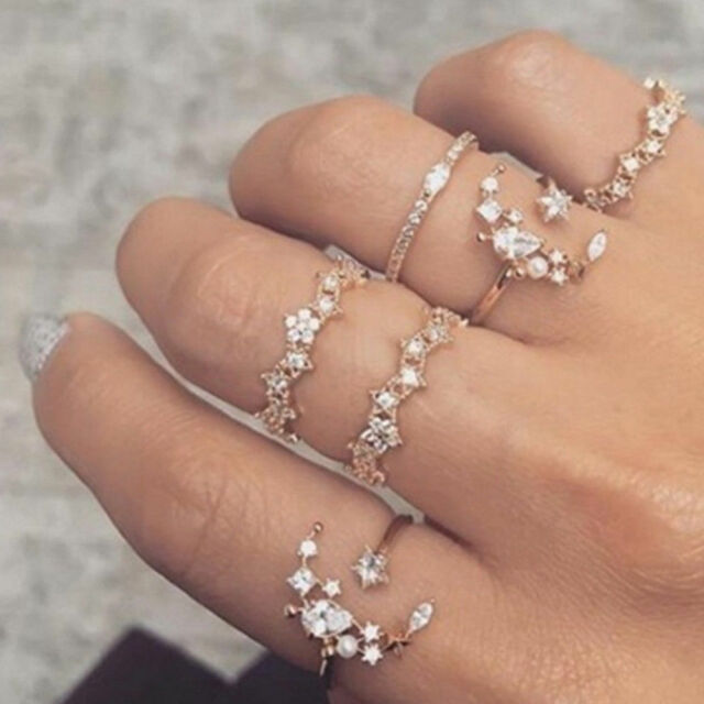 9d121515987993 5Pcs/Set Crystal Silver Star Flower Stackable Sparkly Rings Vintage Boho  Jewelry