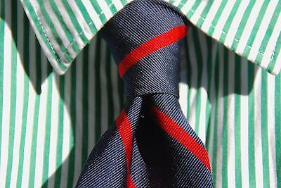 Trumbull & Rhoades New England Gentleman's Navy Blue & Red Striped Silk Tie- USA