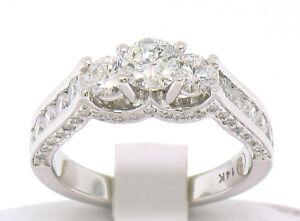 Neuf-Createur-14k-or-Blanc-1-85ctw-Diamant-Trois-3-Pierre-Femmes-Fiancailles