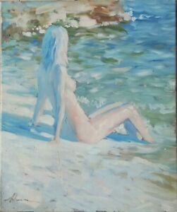grand-huile-toile-tableau-Jeune-femme-signee-Alexander-SHEVCHUK