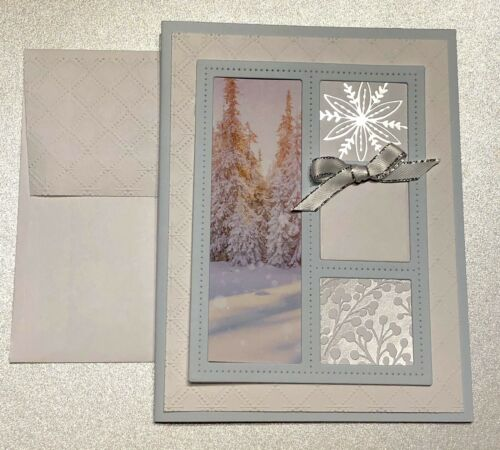 4 FIRST FROST DSP Winter Windows Greeting Card Kit Blank Sentiment Stampin Up!