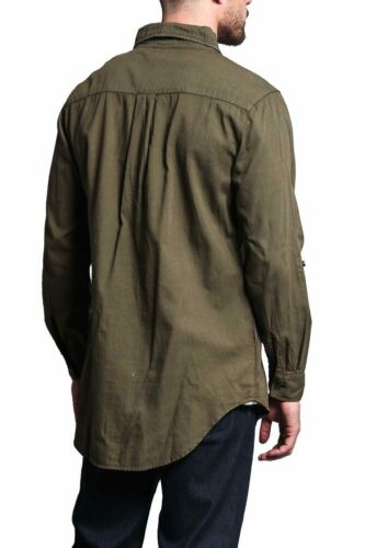 Men/'s Hipster Long Sleeve Extended Length Denim Button Up Shirt     SH501-E10I