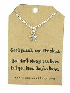 Friendship-Dainty-Star-034-Friends-are-like-Stars-034-18-034-Necklace-New-Gift-Card-Quote