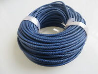 5mm Round Royal Blue Braided Bolo Leather Cord For Diy Craft Jewellery Supplies