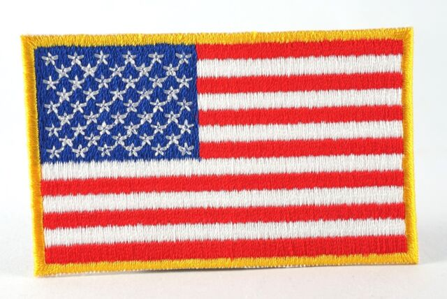 US AMERICAN NATIONAL FLAG YELLOW BORDER MILITARY IRON SEW ON PATCH SHOULDER  HATS 666716c94
