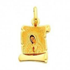 Details about  /14K Yellow Gold Our Lady of Guadalupe Enamel Picture Charm Pendant with 2mm Figa