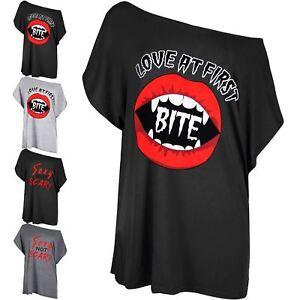 Womens Ladies Halloween Love At First Bite Batwing Lagenlook Baggy T-Shirt Top