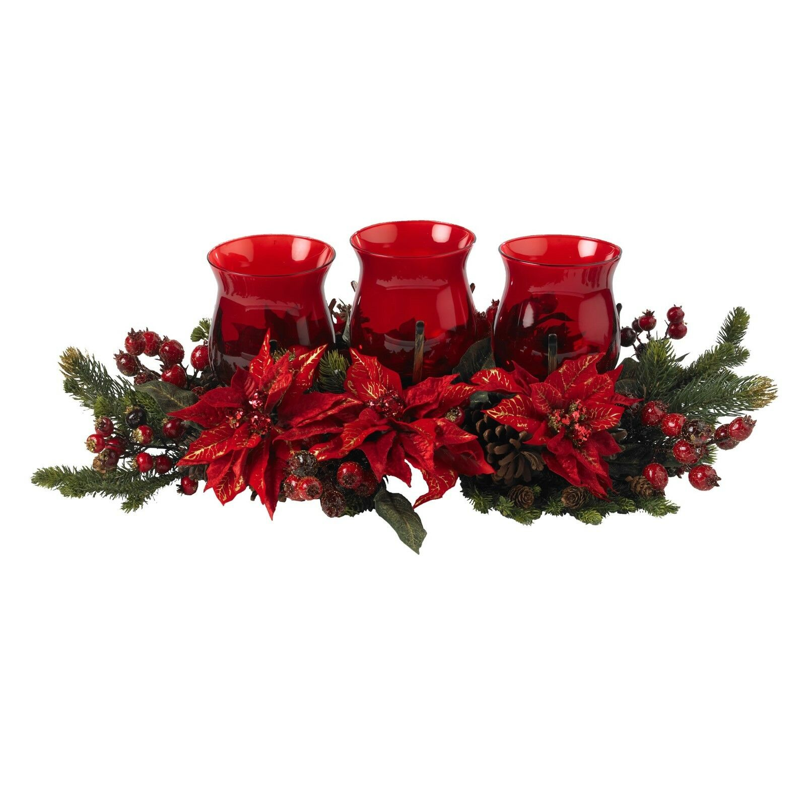 Poinsettia & Berry Triple Candleabrum by Nearly Natural