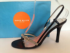 KAREN MILLEN Ladies black satin / leather diamante shoes / sandals 38 / UK 5