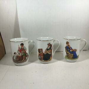 Lot-of-3-Norman-Rockwell-Museum-Coffee-Mugs-Cups-Memories-Doll-House-Bedtime