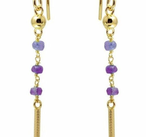 14K YELLOW GOLD OVER 925 STERLING SILVER DANGLING EARRINGS W// LAB AMETHYST BEADS