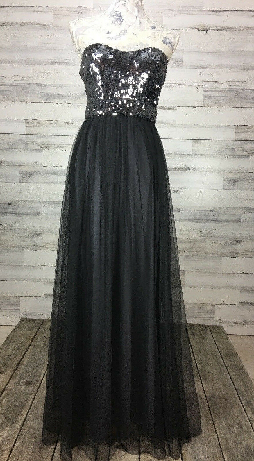 NWT BLONDIE 3 5 Nites  schwarz Tulle Sequin Top Evening Party Gown Prom