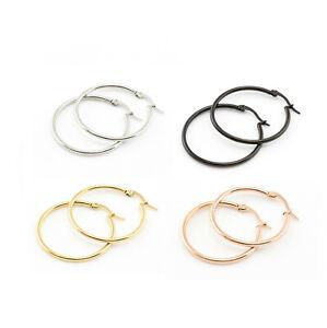 Silver-18k-Gold-Plate-Rose-Gold-amp-Black-Round-Hoop-Sleeper-Earrings-8mm-50mm