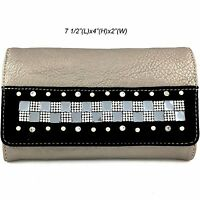 Western Cowgirl Rhinestone Pewter Black Cross Body Wristlet Wallet With Strap