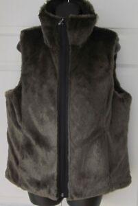 New-Wms-Weatherproof-Brown-amp-Black-Faux-Fur-Reversible-Vest-M