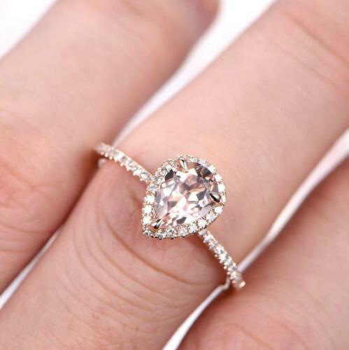 8*6mm Pear Cut Solitaire Morganite and Diamond Engagement Ring 14k Rose Gold GP