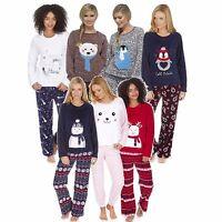 Ladies Winter Fleece Animal Print Twosies Pyjama Set PJs Nightwear Thermal