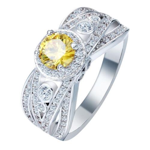 Femmes Bijoux de mode argent 925 jaune topaze anneaux de mariage Taille 6-10