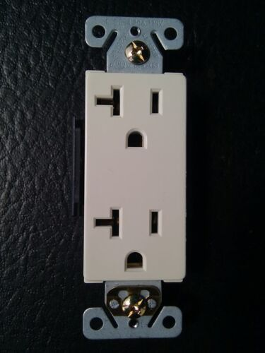Decorator Duplex Receptacles 20 Amp Almond Self Grounding 20A Outlets 20 pc