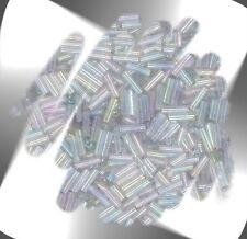 "1 Hank LIGHT GRAY Transparent Rainbow 6mm (1/4"") Glass Bugle Seed Beads N2027"