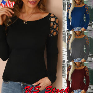 US-Womens-Hollow-Long-Sleeve-Loose-T-Shirt-Ladies-Summer-Casual-Blouse-Tops-Tee