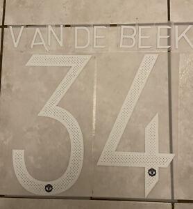 Flocage Nameset Van De Beek #34 Manchester United 2020-2021 Home Away. Cup