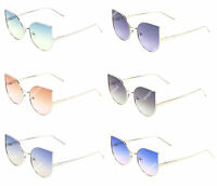 Women Cat Eye Oceanic Gradient Colors Sunglasses Metal Frame Flat Lens
