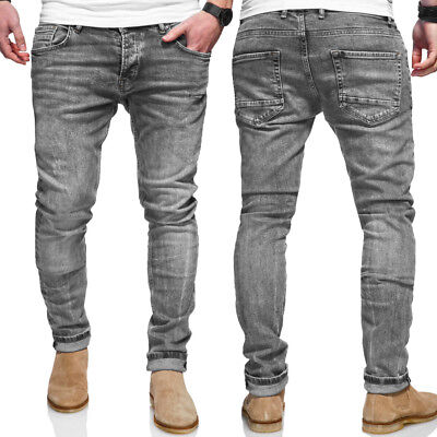 Nett Ombre-eight Herren Jeans Hose RÖhrenjeans Grau Washed Neu