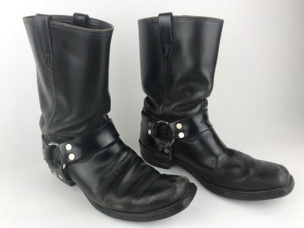 Awesome Vintage USA Engineer Biker Harness Moto Boots Size 8.5 D Serious Mojo!!!