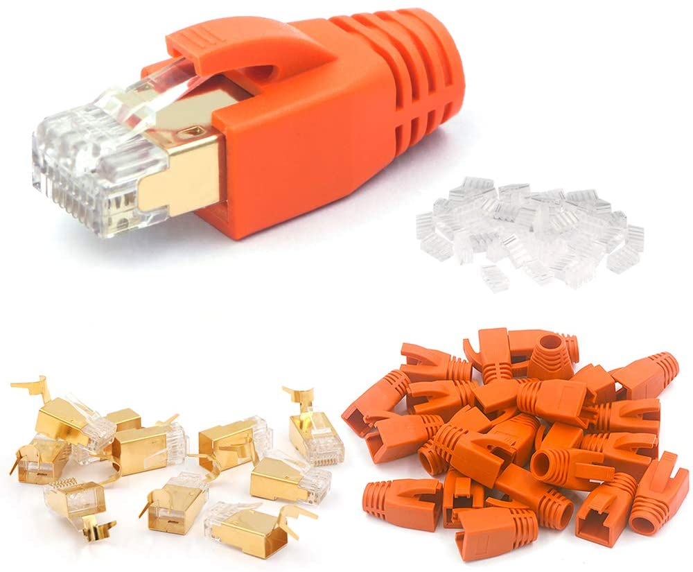 VCE 10 Pack Shielded CAT7 RJ45 Connector Gold with Boots CAT6A with Load Bar